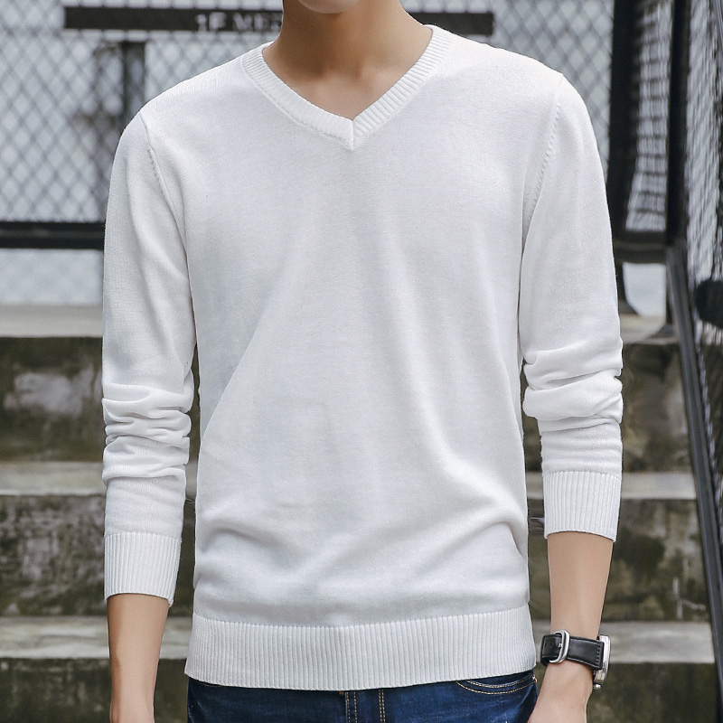 New Sweater Men 2019 Hot Sale Autumn V-Neck Solid Quality Cotton Knitted Brand Clothing Male Sweaters Casual Pullovers Men M-3XL