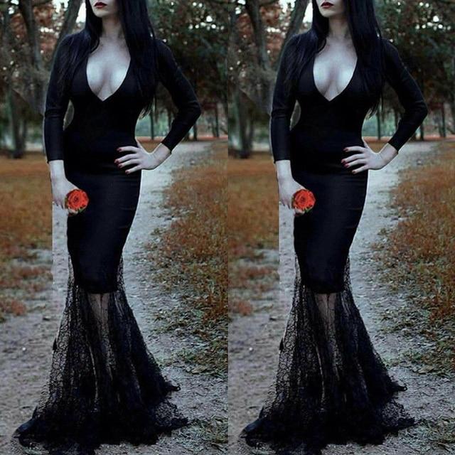 Vintage Gothic Sexy Women Black Slim Mermaid Lace Dress Halloween Evening Party Formal Occasion Long Maxi dress Punk Vestidos  3