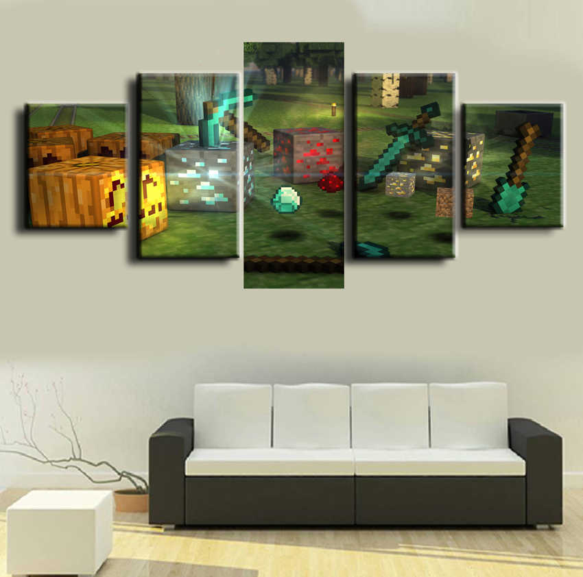 5 Pieces Canvas Painting Wall Art Living Room Artwork HD Print Picture Painting Minecraft Game Modern Home Decor Picture