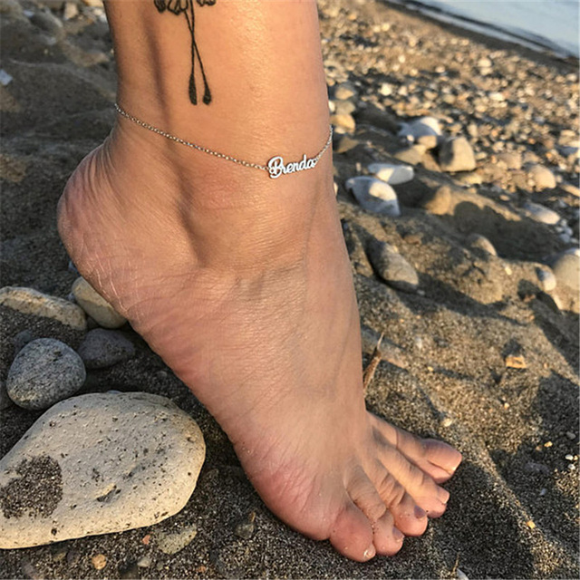 Beach Jewelry Custom Personalize Name Anklet Foot Bijoux Femme Bridesmaid Gift 4