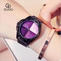 GUOU Watches Top Luxury Exquisite Ladies Watch Blush Paragraph Tide Quartz Watch Bogue Trend Stainless Steel