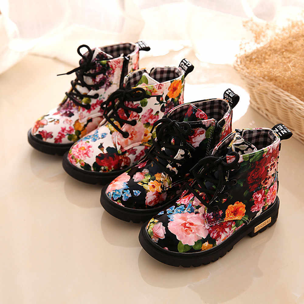 Baby Girls Shoes Fashion Leather Floral Kids Shoes Martin Boots Casual Children Booties Toddler Anti-Slip BFOF