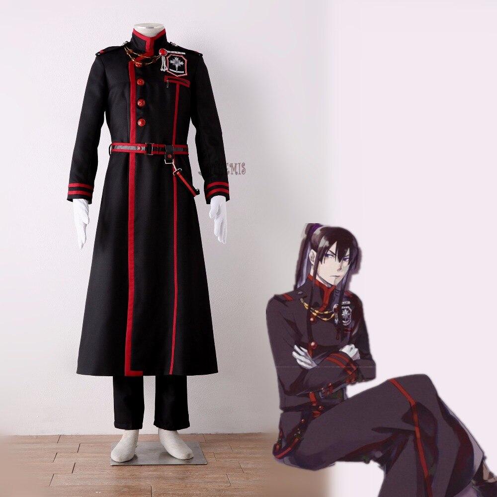 Athemis D. Gray-man Yu Kanda Cosplay Kostuum Custom Made Cool Black Man Lange Jas Taille Tas Broche Riem Handschoenen