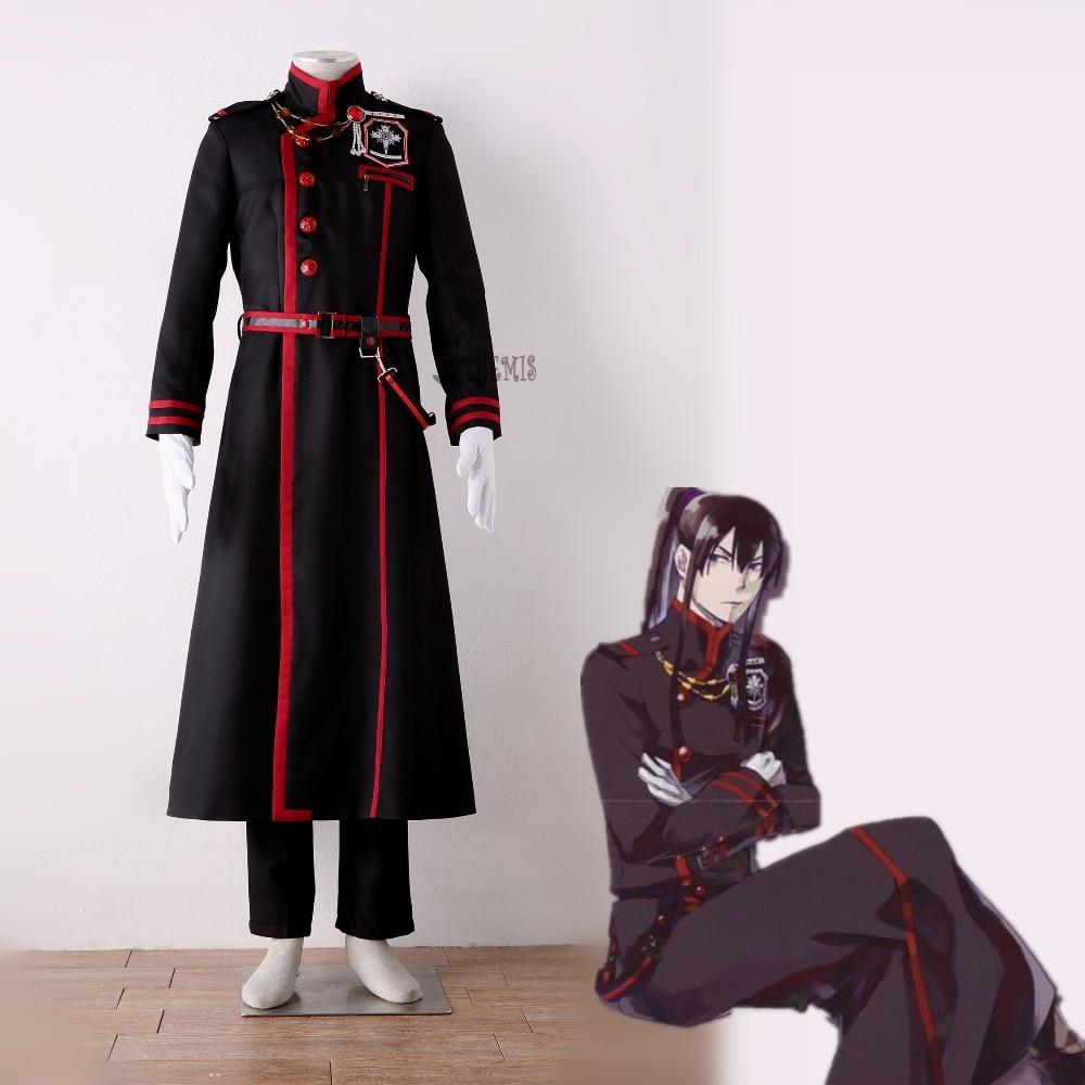 Athemis D. Gray-homme Yu Kanda Cosplay Costume sur mesure Cool noir homme long manteau taille sac broche ceinture gants