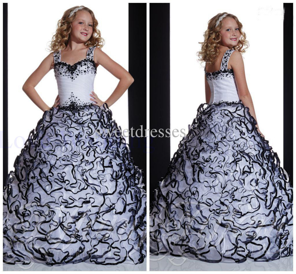 Aliexpress.com : Buy Black & White Beaded Girls Pageant Gowns 2015 ...
