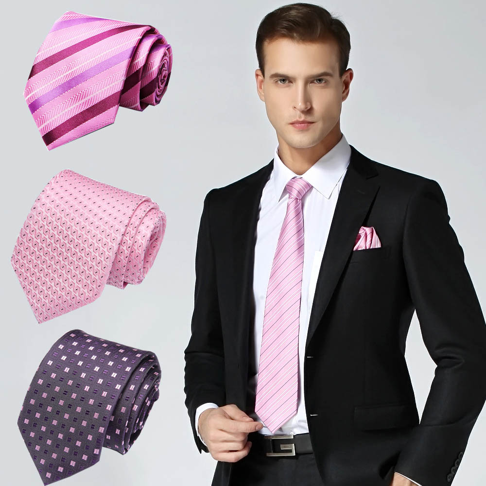 7.5m Mens Ties Pink Man Fashion Polka Dot Plaid Striped Floral Neckties Corbatas Gravata Jacquard Silk Business Tie For Men
