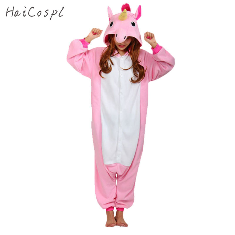 Unicorn Onesie Animal Pajama Men Women Fancy Adult Party Costume Anime Cosplay Mascot Flannel Sleepwear Warm Nightwear Lovely