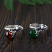 FNJ 925 Silver Lotus Ring Red Zircon Green Yellow White Chalcedony Original S925 Sterling Thai Silver