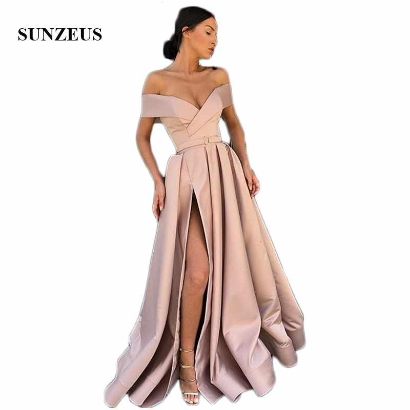 buy online a4fd2 0a932 High Leg Slit Sexy Formal Dresses for Women Sweetheart Off the Shoulder  A-Line Evening Gowns abiti cerimonia donna SE17