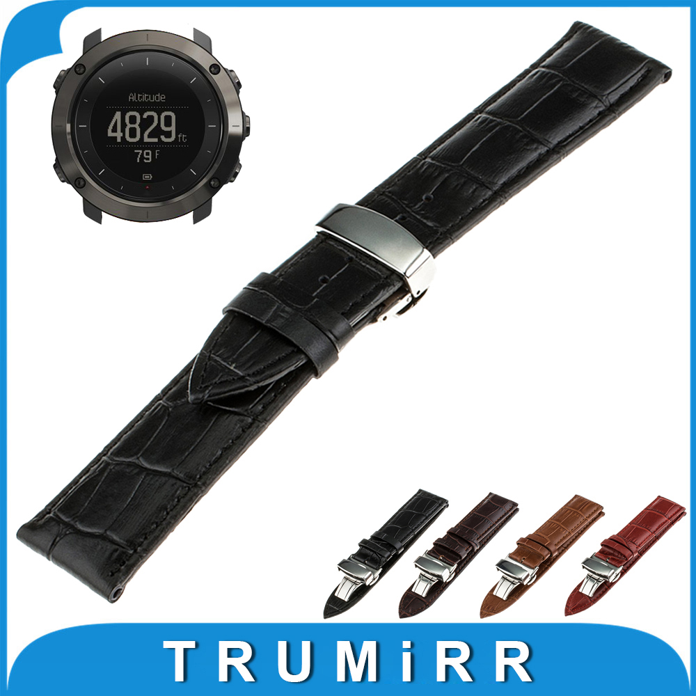 24mm Genuine Leather Watchband Butterfly Buckle Strap  for Suunto TRAVERSE Watch Band Wrist Belt Bracelet +Tool Black Brown Red