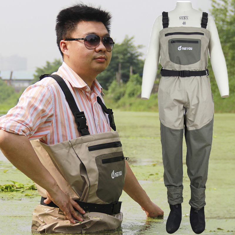 Neygu Breathable Stockingfoot Chest Wader, Isolert Jakt og Fiske Wader med Fleece Lined Hånd Varmere Pocket