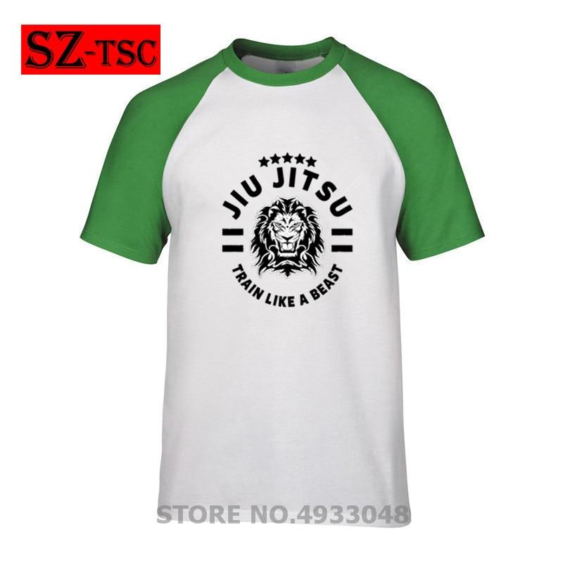 100% Baumwolle Brazilian Jiu Jitsu-bjj Zug Wie Ein Tier Lion King Männer T Shirt Casual Kurzarm Kühlen Lose Punk Gedruckt T