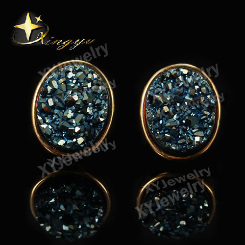 Iolite Blue Color Factory Price Gold Plated Egg ShapeNatural Agate Drusy Stone Stud Earrings Jewelry ChristamaXYE503341ib