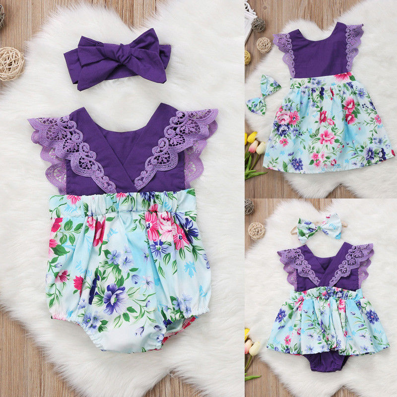 Newborn Baby Girl Sister Matching Floral Clothes Jumpsuit Romper Dress Outfits 2018 new easter floral romper newborn baby girl bunny romper flying sleeve jumpsuit outfits summer flower clothes 0 24m