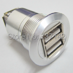 22mm mounting diameter metal 2x USB2.0 FEMALE A - FEMALE A usb3 0 round type panel mounting usb connecter silver surface