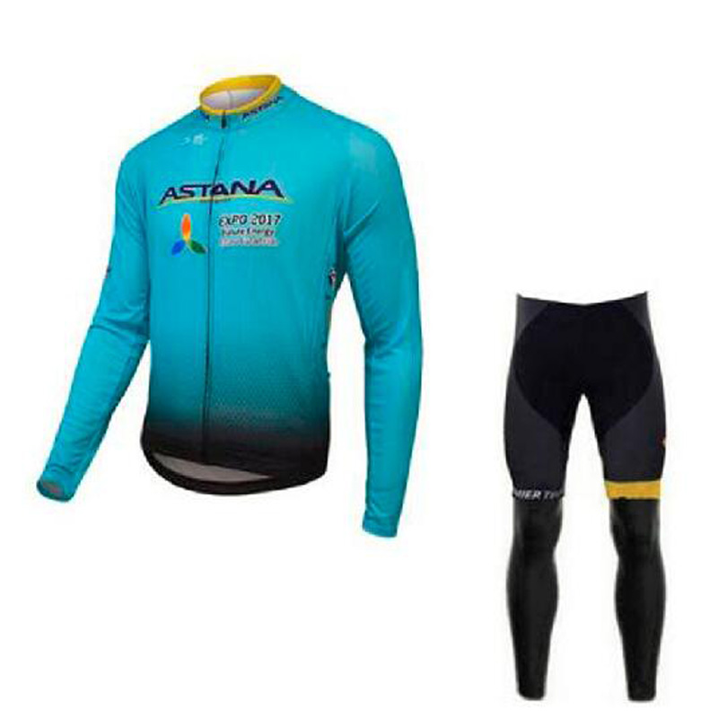 2018 Mens Cycling Jersey Sets Long Sleeve Outdoor Sports Bicycle Cycle Jersey Clothing Quick Dry Riding Clothes Green
