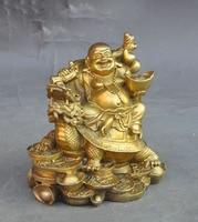 Chinese Brass Ride dragon turtle Happy Laugh Maitreya Buddha wealth Lucky statue