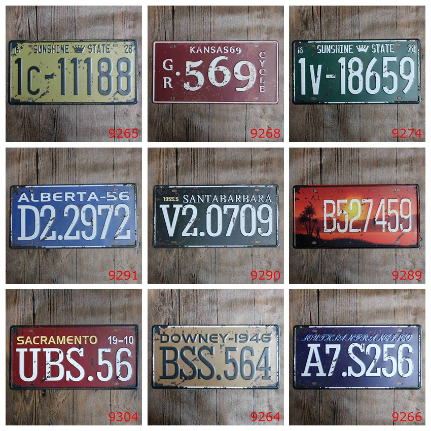ᓂ15x30 cm vintage license plates car numbers retro iron painting ...