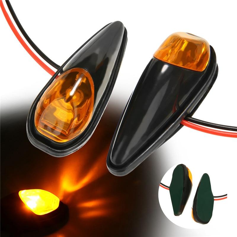 Universal Motorcycle Mini Surface LED Turn Signals Blinker Amber Smoke Lens