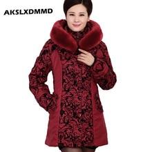 AKSLXDMMD2017 Middle-aged winter jacket women Thicken Warm Cotton-padded Slim Plus Size Fur Collar winter Coat Women Parka DX360