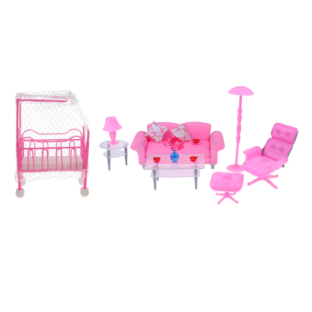 1/6 Pink Sofa End Table Recliner Set & Cot Bed W/ Bed Net for Barbie ...