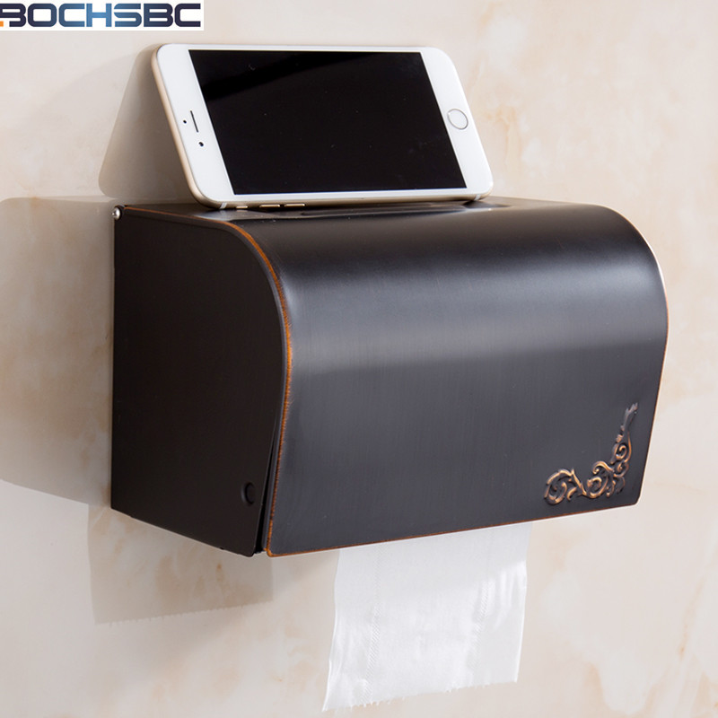 BOCHSBC Modern Bathroom Accessories Black Oil Rubbed Wall Mounted Brass Bathroom Toilet Paper Holder Roll Tissue Box Solid Brass oil rubbed bronze toilet paper holder wall mount tissue box