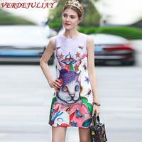 Vintage Mini Dresses Summer Women 2019 Sleeveless Fashion Luxury Outer space Print Vest New Lavender Hot Sale Top Popular Dress