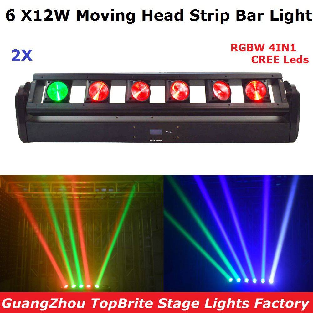 2Pcs/Lot 6X12W RGBW 4IN1 LED Bar Beam Moving Head Lights High Power 90W LED Moving Head Strip Bar Light 90-240V Free Shipping freeshipping 2xlot 16 head led moving head spider light endless rotation 16x25 high power rgbw 4in1 beam full color lcd display