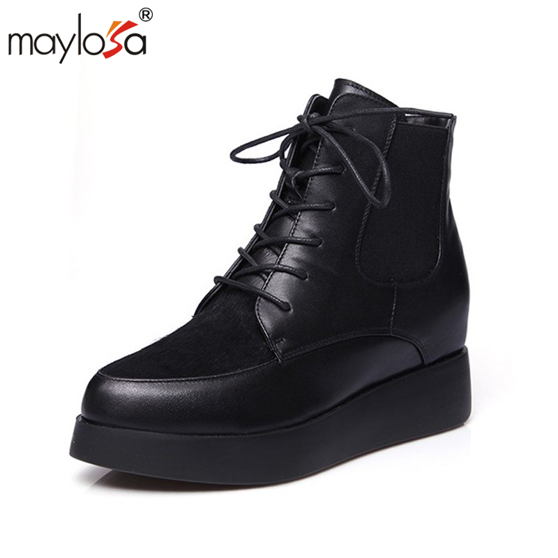 MAYLOSA Women ankle boots Genuine Leather Vintage Ladies Motorcycle Boots Ankle Boots Female Snow Boot Short Fur Winter 2017 cow suede genuine leather female boots all season winter short plush to keep warm ankle boot solid snow boot bota feminina