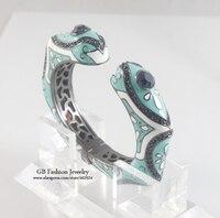 GrayBirds New Brand Fashion Enamel Cuff Bangles For Office Lady Gun Black Plated Luxury Jewelry Wedding Gift For Women GB0645