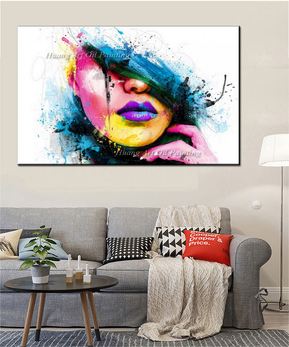 US $38 5 50% OFF Wall Art Large Fashion Painting on Canvas Women Face  Picture Hand Painted Colorful Sexy Girl Abstract Figures Oil Painting-in