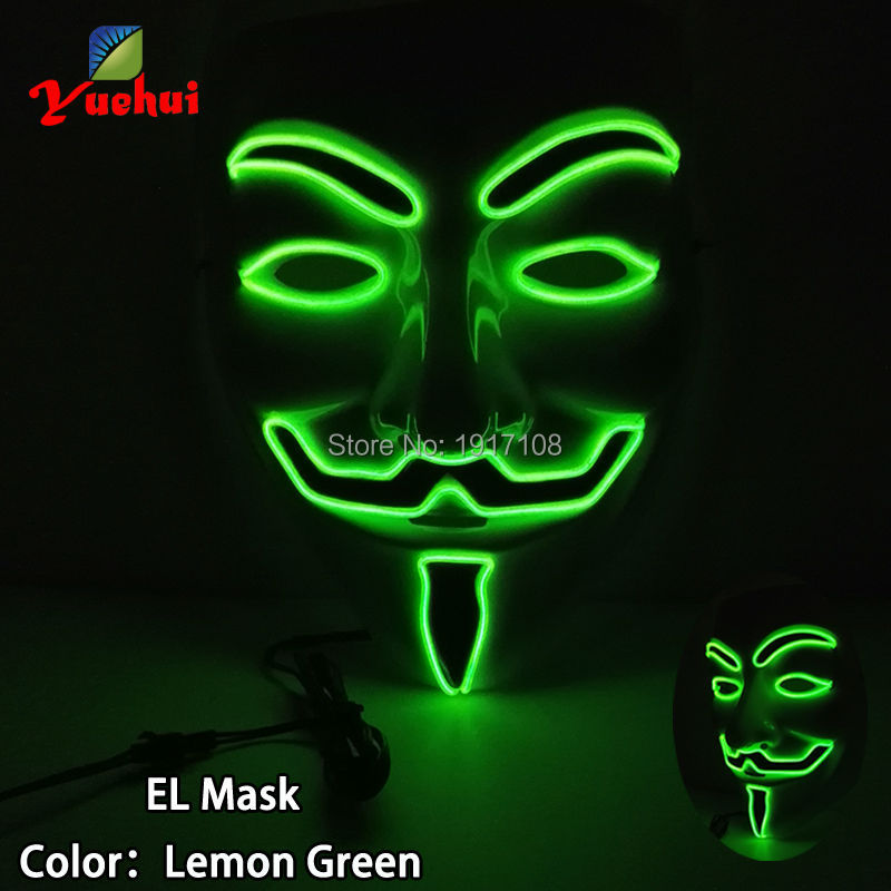 New Halloween 10 COLOR Lighting Vendetta LED Mask EL wire Mask Gift glowing Neon Festival LED Glowing dance Carnival Party Mask