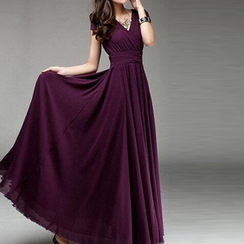 Women Long Bohemian Maxi Dress Short Sleeve Fit And Flare Party Ankle Length Dress Ladies Female V Neck Beach Dress Vestidos 3XL 5