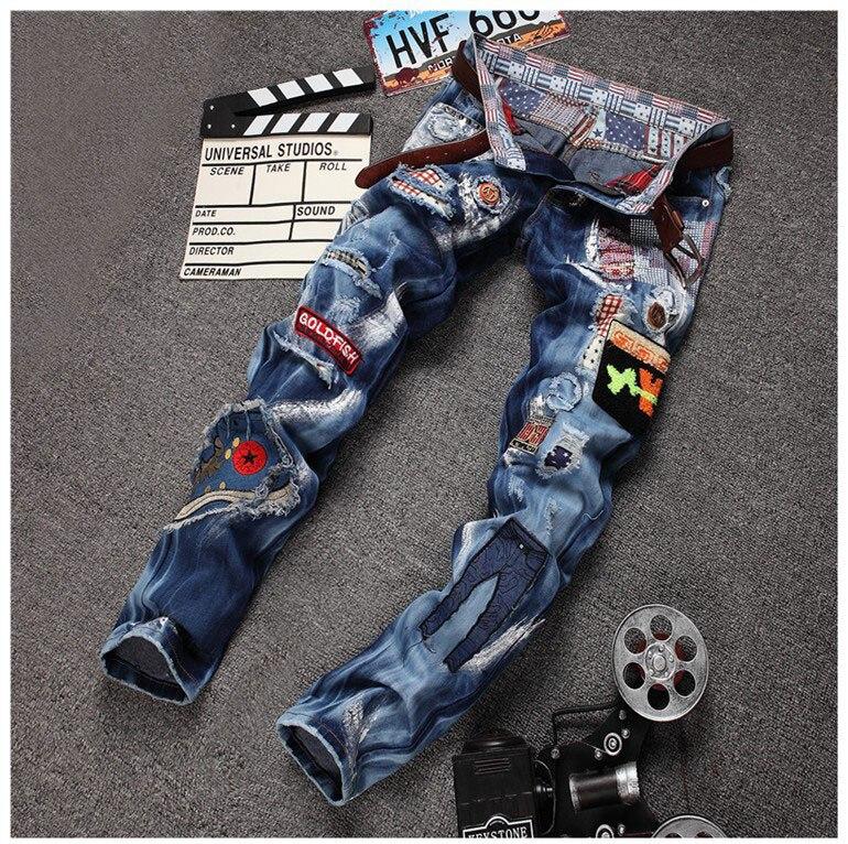 1c5395dd4 € 36.28 |Estilo Americano europeo moda de Los Hombres pantalones vaqueros  de marca famosa jeans de lujo pop azul de mezclilla de algodón delgado ...