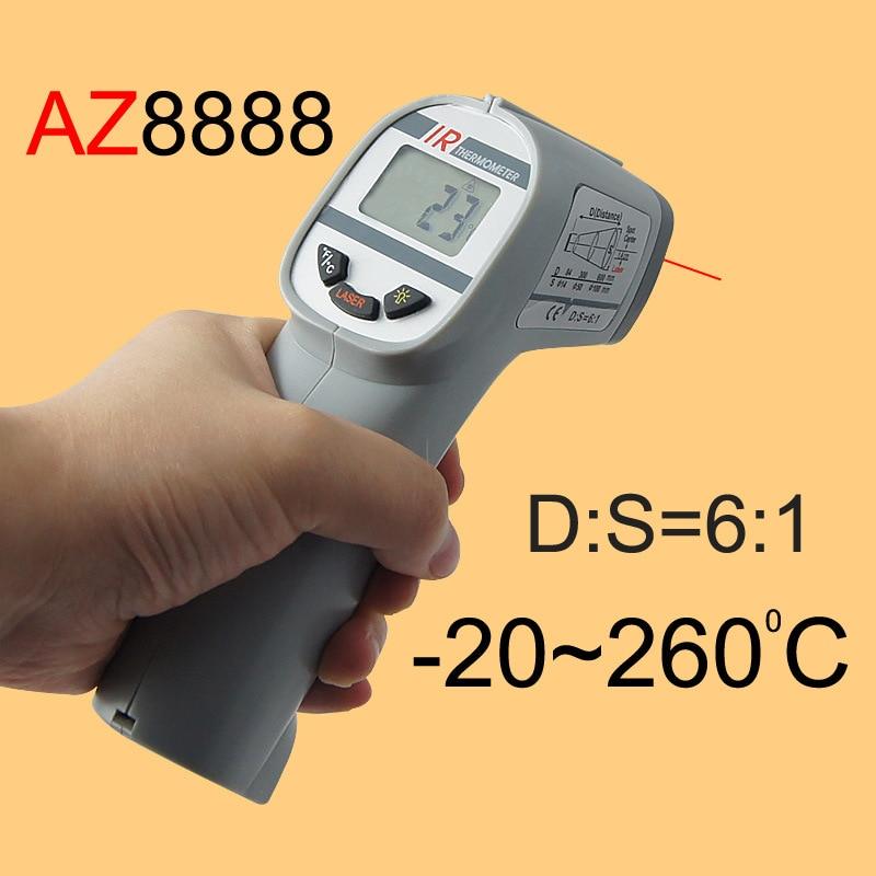 AZ8888 Gun Type IR Thermometer, Infrared Thermometer Measuring range -20 ~ 260C az 8889 ir thermometer az8889 measuring range 40c 500c az 8889 gun type infrared thermometer