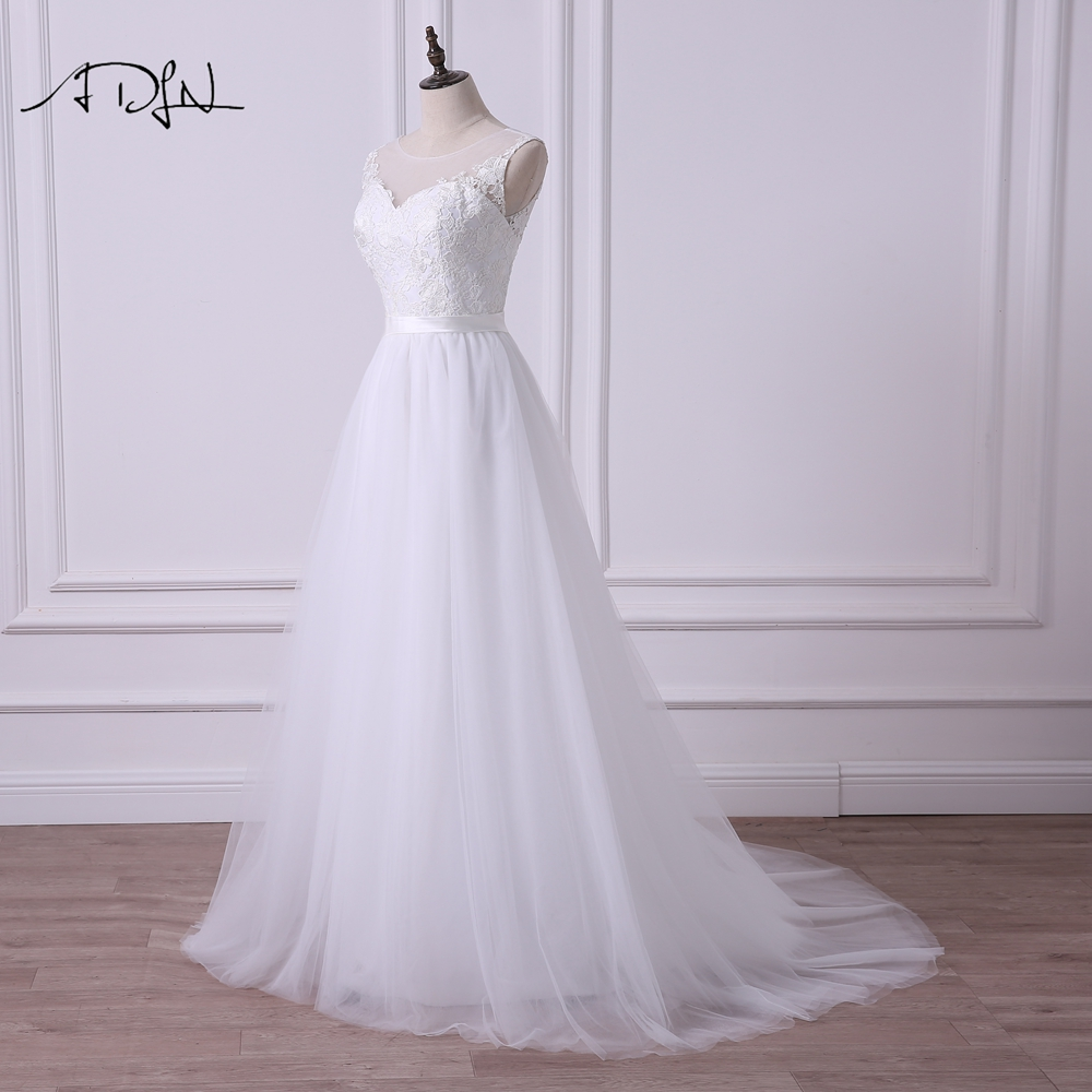 ADLN 2018 Scoop A-line Lace Wedding Dress Illusion Bodice Simple White/Ivory Sexy Plus Size Bridal Gown Vestidos de Novia