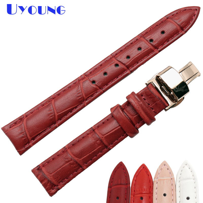 Womens fashion Genuine leather watch band 12 14 15 16 17 18 19 20mm stitched small watch strap wristwatches pink red white color|Watchbands| |  - title=