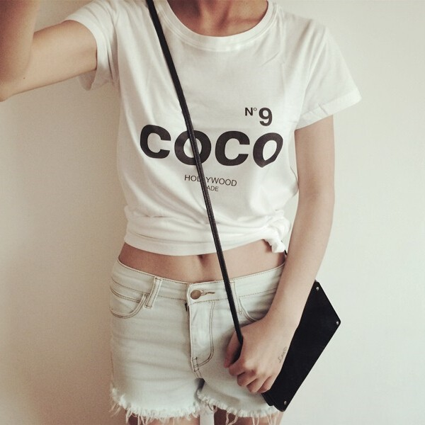COCO New Fashion Brand T-shirt da donna manica corta in cotone estate lettera stampa tshirt casual da donna Tops Taglie forti