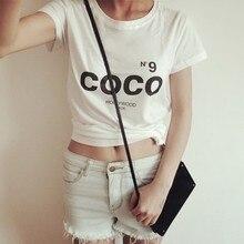 COCO Nouvelle Marque De Mode Femmes t-shirt À Manches Courtes Coton D'été Lettre Imprimer t-shirt Occasionnel Femmes Tops T-shirts Plus La taille(China (Mainland))