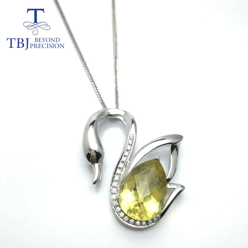 TBJ,Swan LakeBig swan with natural lemon quartz checkerboard cut pendant necklace in 925 sterling silver gemstone jewelry royal moscow ballet swan lake zabrze