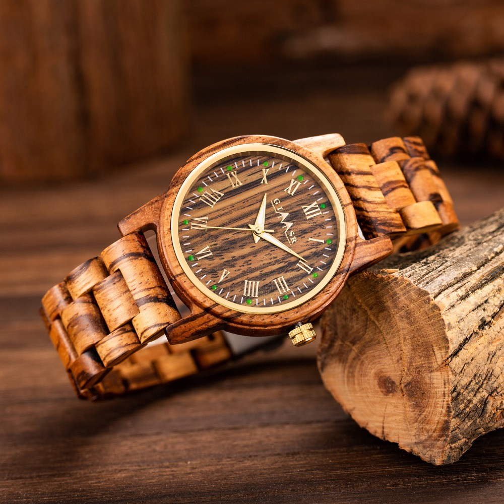 Luxury Designer Natural Wood Watch Men Wooden Watches Luminous dial Handmade Quartz Wrist Wristwatches relogio masculino