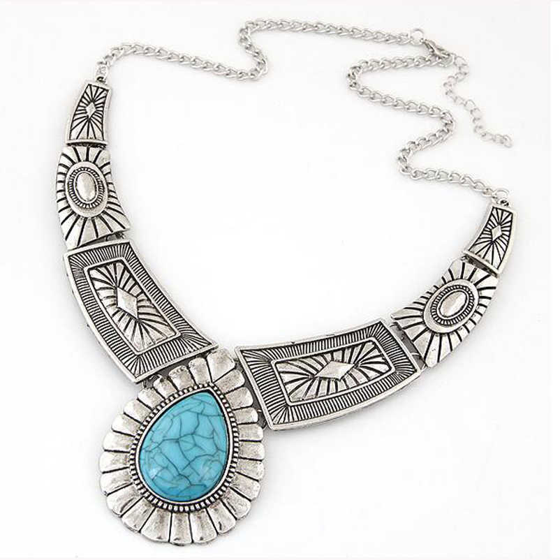 Wholesale Fashion New Design Maxi Necklace Vintage Gem Geometric Thread Statement Necklaces & Pendants For Women Collar XY-N12