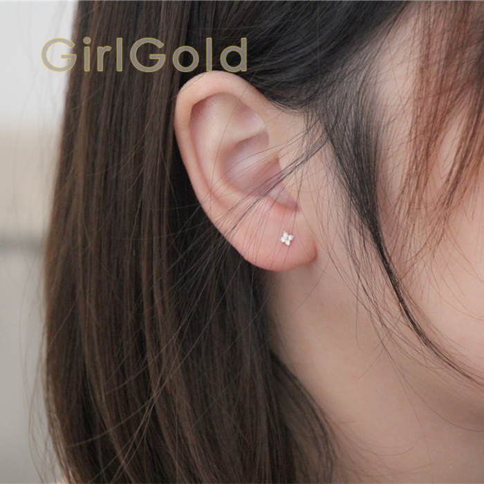 14K Solid Gold Floret Crystal Stud Earring Mini Dainty Women Minimal Simple Style Gift Bridesmaid