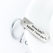 Engraved Jewelry Drive Safe Daddy Charm Key chain For Dad Father Men Father's Day Birthday Gift Stainless Steel Keyring