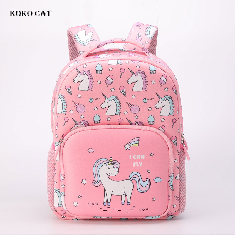 Kids Backpack Girls Cute Unicorn Printed Primary School Bag Orthopedic Student Bookbag Breathable Daypack Mochila Infantil