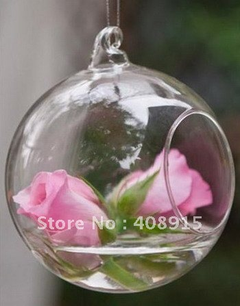 Glass Hanging Vase Dia10cm Round With An Opening Round Bottom
