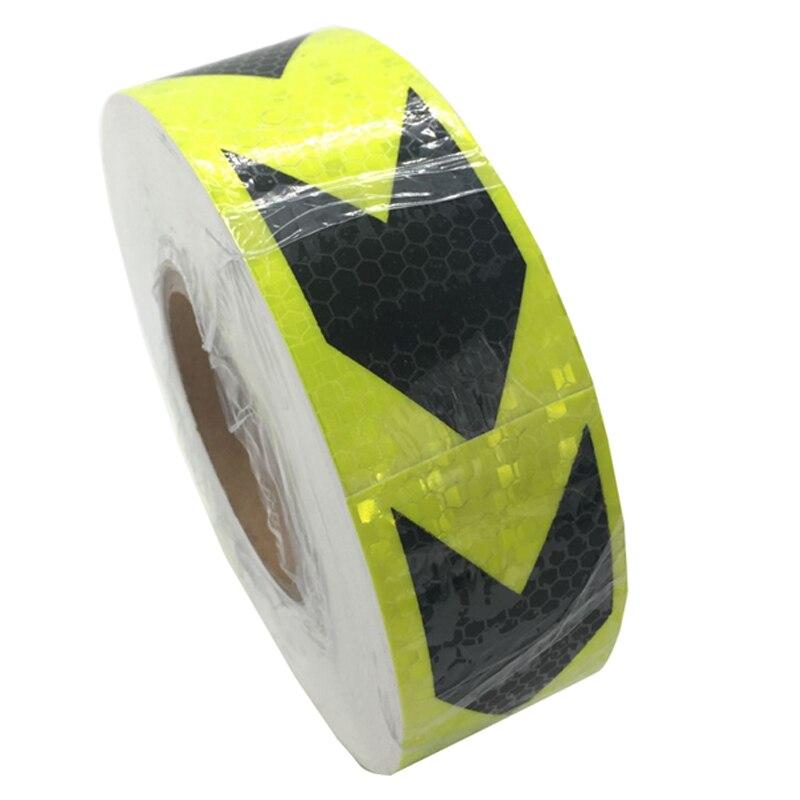 5 см * 45 м светоотражающие полоски безопасности Предупреждение знак ленты тела наклейки черного, желтого цвета Стрелка решетки клей износос...