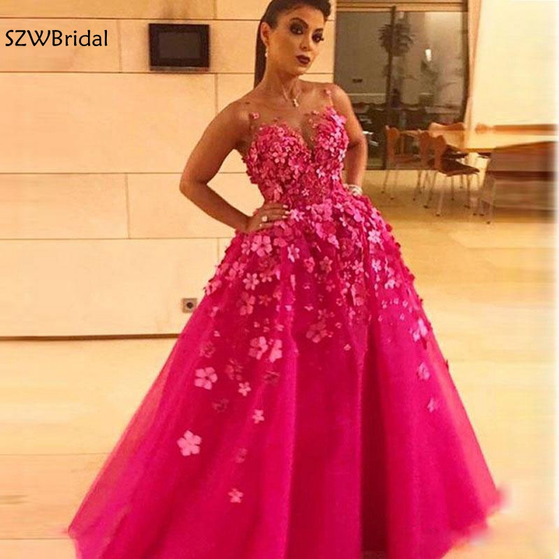New Arrival O Neck Rose red Ball gown   evening     dresses   2019 Lace Flower Appliques Arabic   evening     dress   abiye Robe de soiree