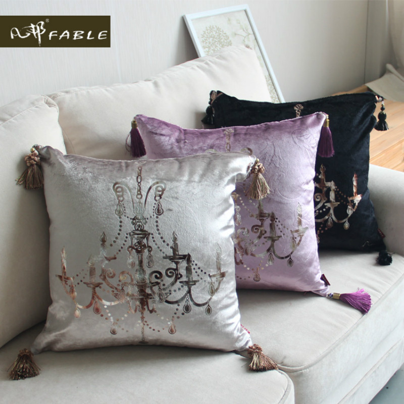 European style luxury embrace the pillowcase velvet sofa pillow cover cushion car waist pillowcase Decorative cushion cover