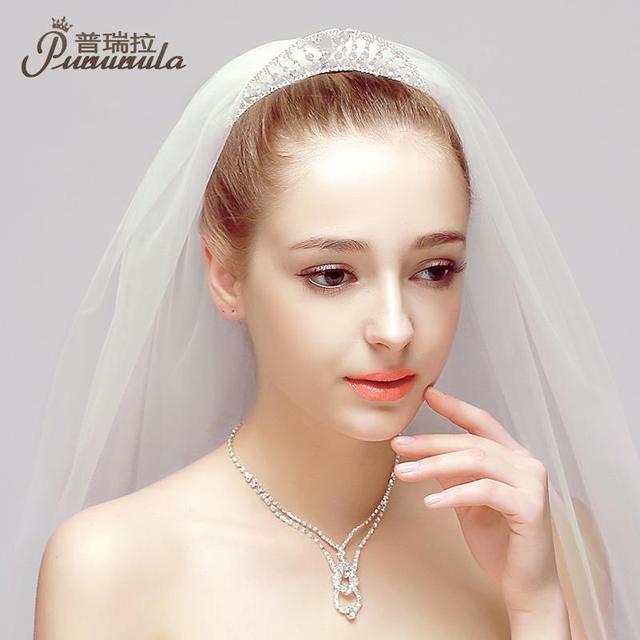 Puroila collar de oído del tocado de la joyería completo corona del Rhinestone joyería de la boda Bijoux famoso diseñador de accesorios